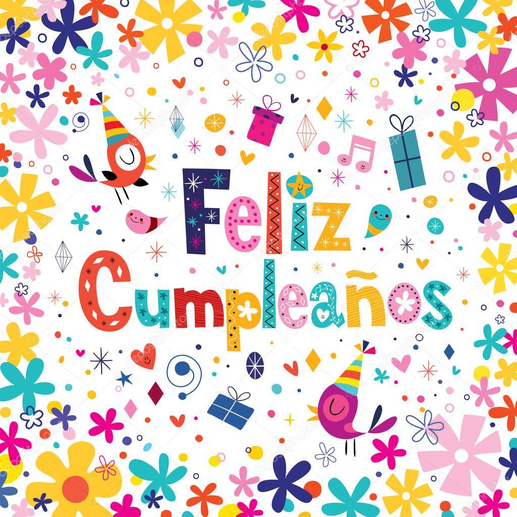 Feliz Cumpleanos   buon compleanno in spagnolo biglietto di auguri