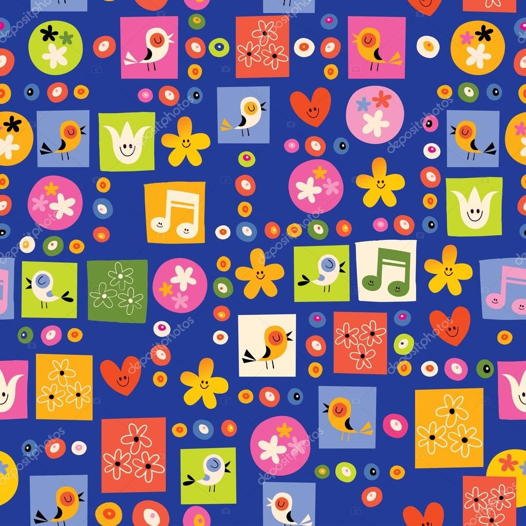 flowers and birds nature seamless pattern