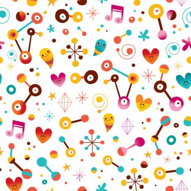 fun cartoon abstract art retro seamless pattern with cute characters