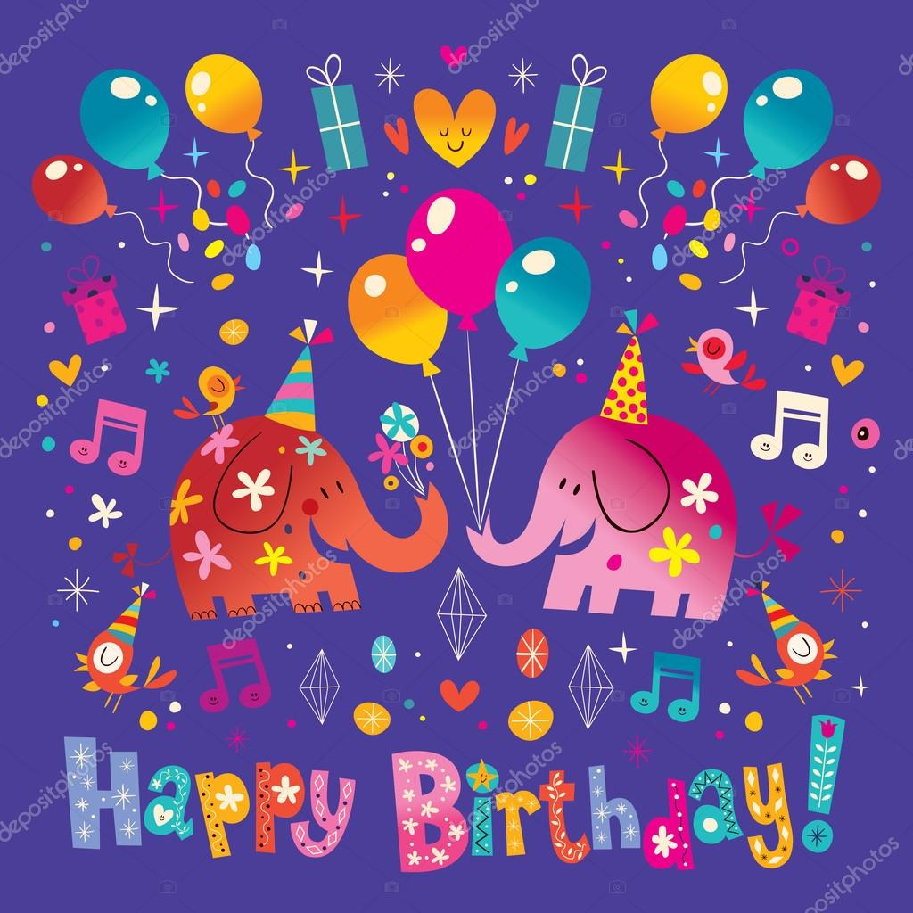 Happy birthday greeting card with cute elephants stock vector happy birthday greeting card with cute elephants stock vector kristyandbryce Image collections