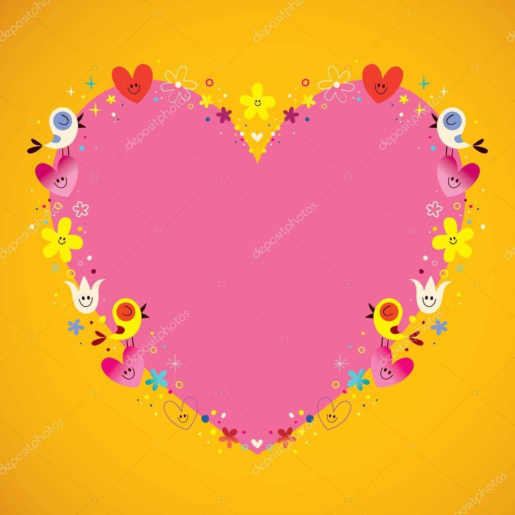 herzförmige Liebe Rahmen mit niedlichen Vögel Herzen und Blumen ...