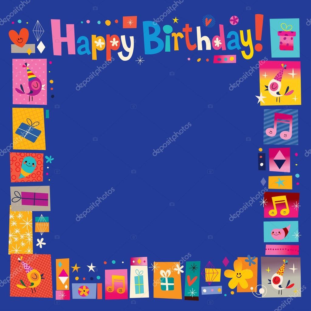 Marco celebratorio decorativo de feliz cumpleaños — Vector de stock ...