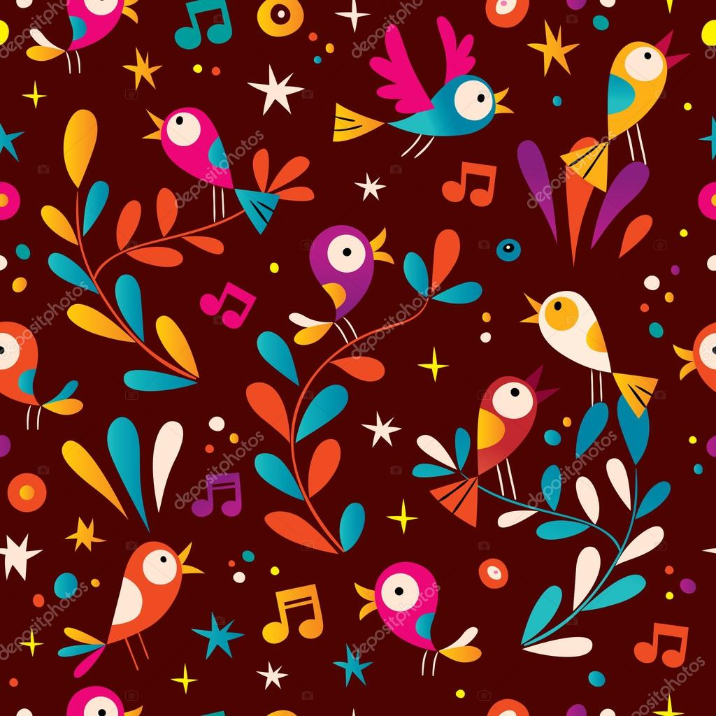 birds nature seamless pattern