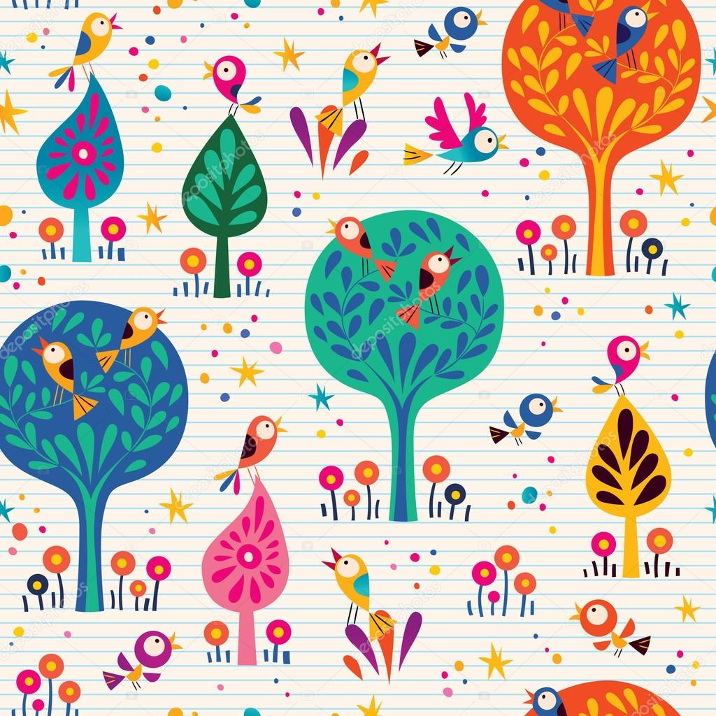 birds in the trees nature seamless pattern with lined paper background