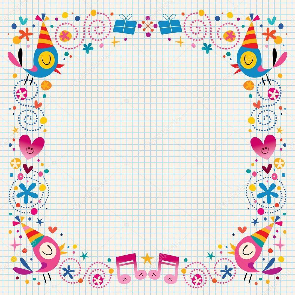 Happy Birthday Decorative Border Design Elements Stock Vector