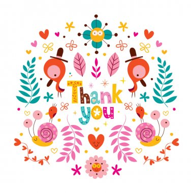 thank you card with flowers, birds, snails characters nature vector illustration