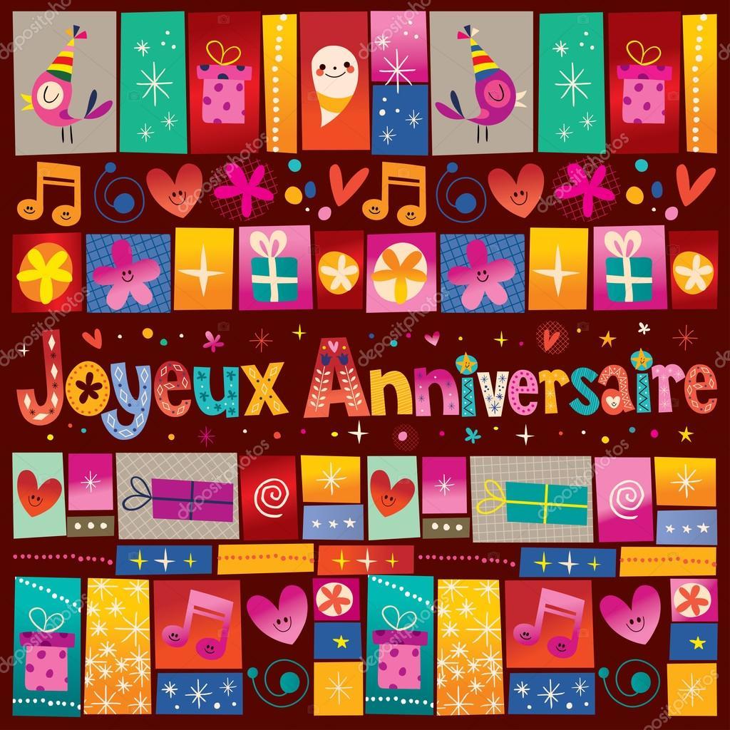Поздравления с днем рождения на французском языке открытки