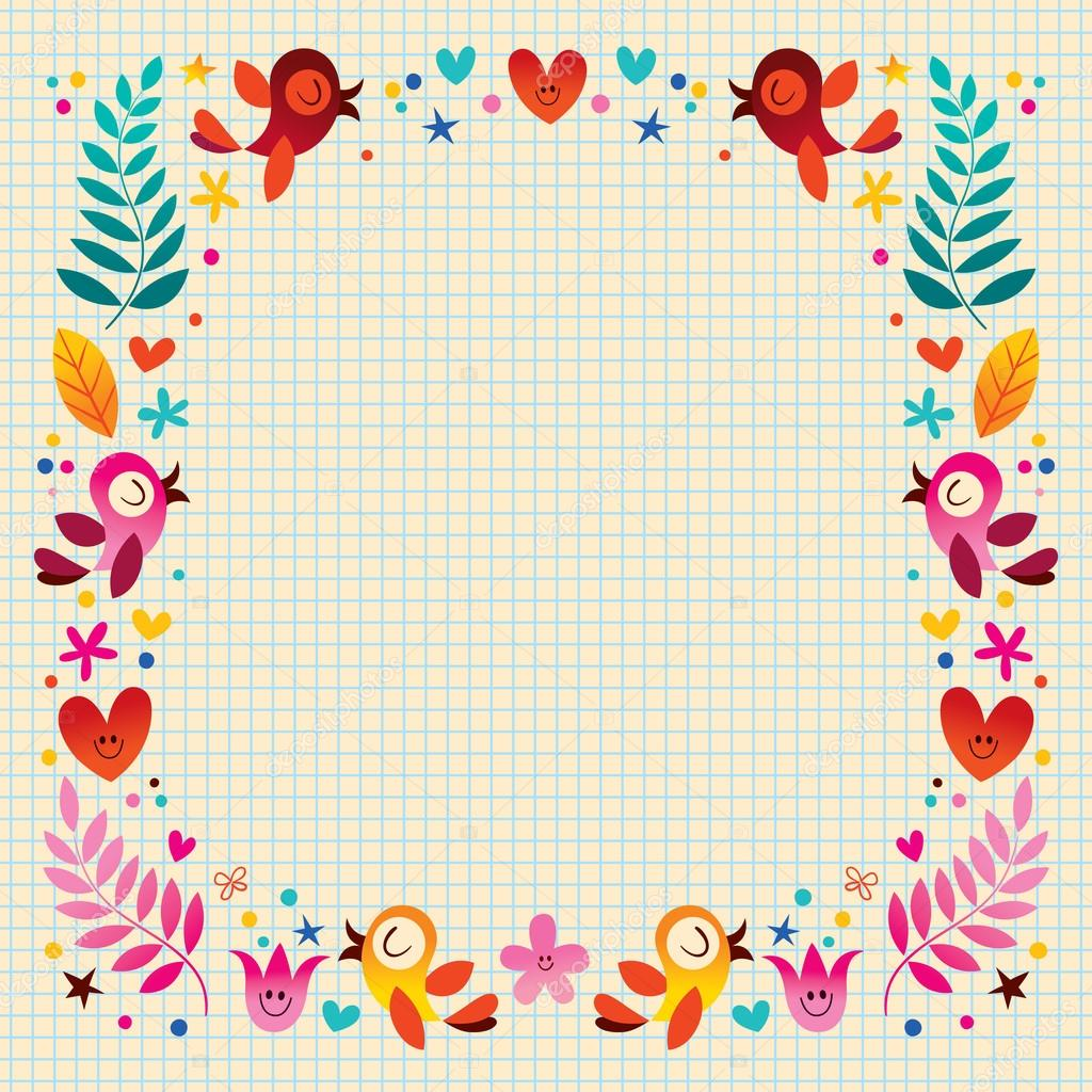 nature frame with birds hearts and flowers