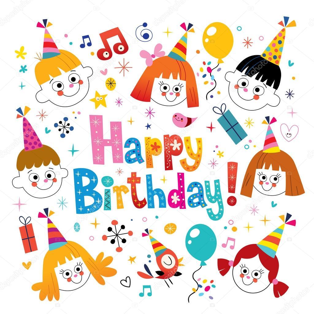 Happy birthday kids greeting card stock vector aliasching happy birthday kids greeting card stock vector bookmarktalkfo Images