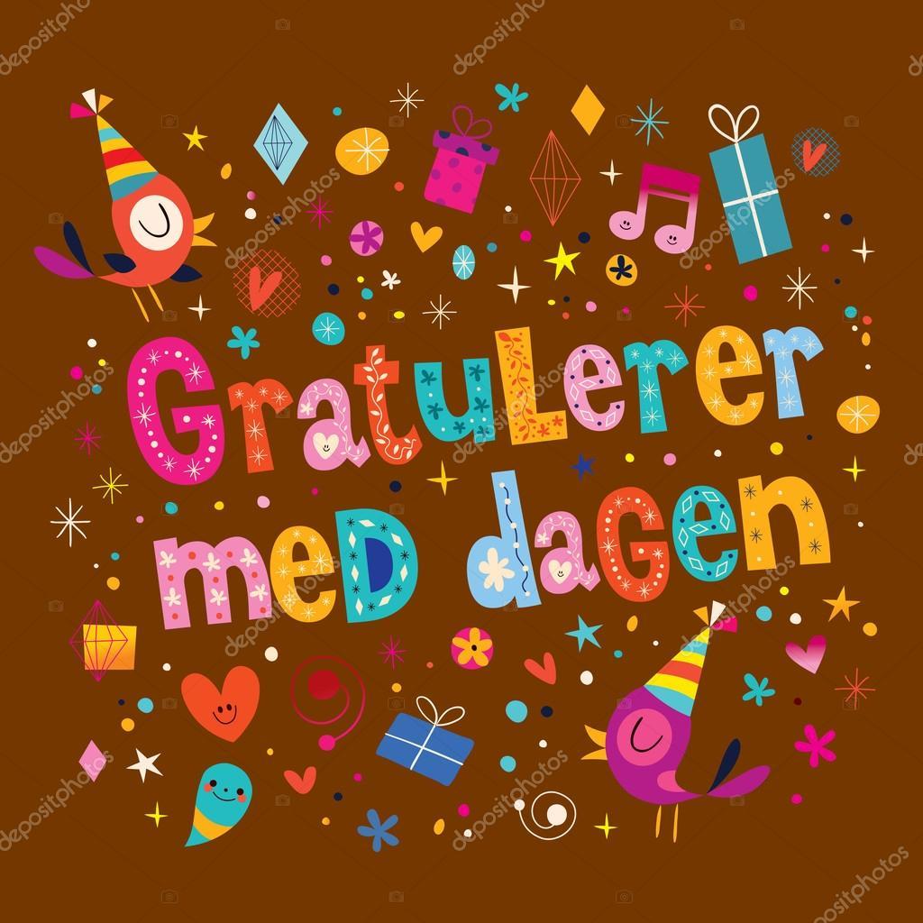 grattis på födelsedagen på norska Gratulerer med dagen födelsedagen i norska kort — Stock Vektor  grattis på födelsedagen på norska