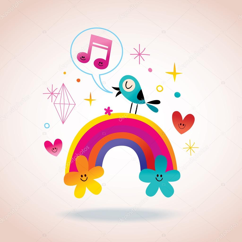 rainbow flowers hearts and singing bird