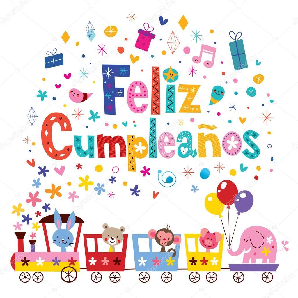 grattis på födelsedagen spanska Feliz Cumpleanos   Grattis i spanska kort — Stock Vektor  grattis på födelsedagen spanska