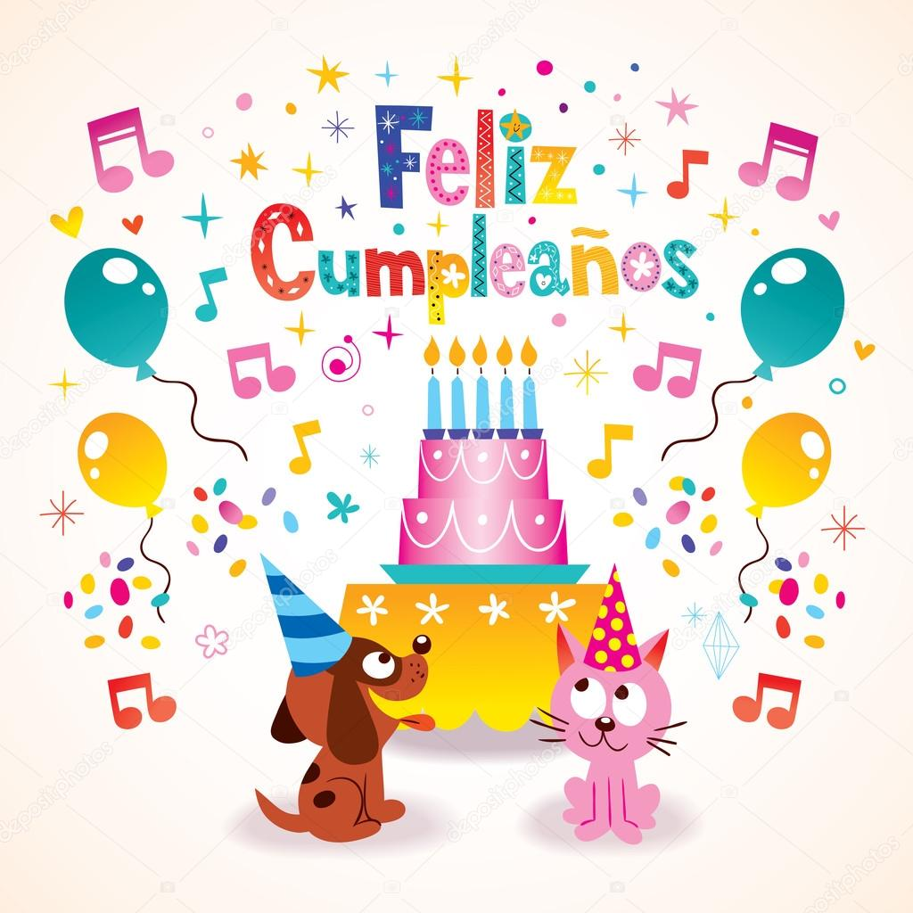 grattis spanska Feliz Cumpleanos   Grattis i spanska gratulationskort — Stock  grattis spanska