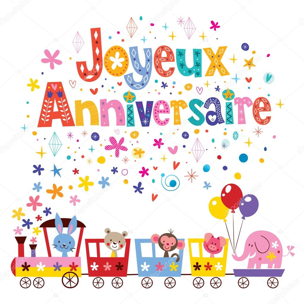 Joyeux Anniversaire Happy Birthday In French Greeting Card Vector Image By C Aliasching Vector Stock 124096630