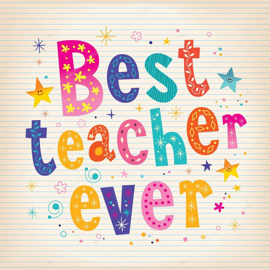 Best Teacher Ever Lettering Design Greeting Card With