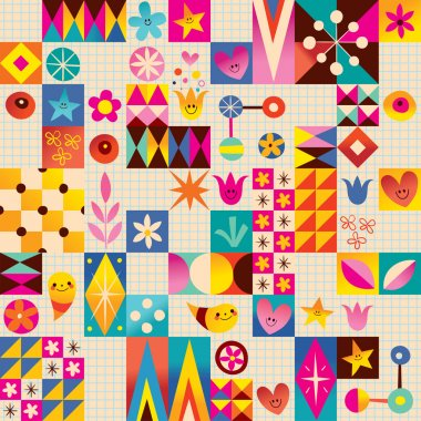 Retro style fun pattern with notebook paper background