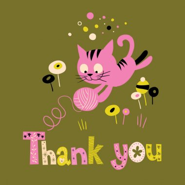 thank you card with cute kitten playing