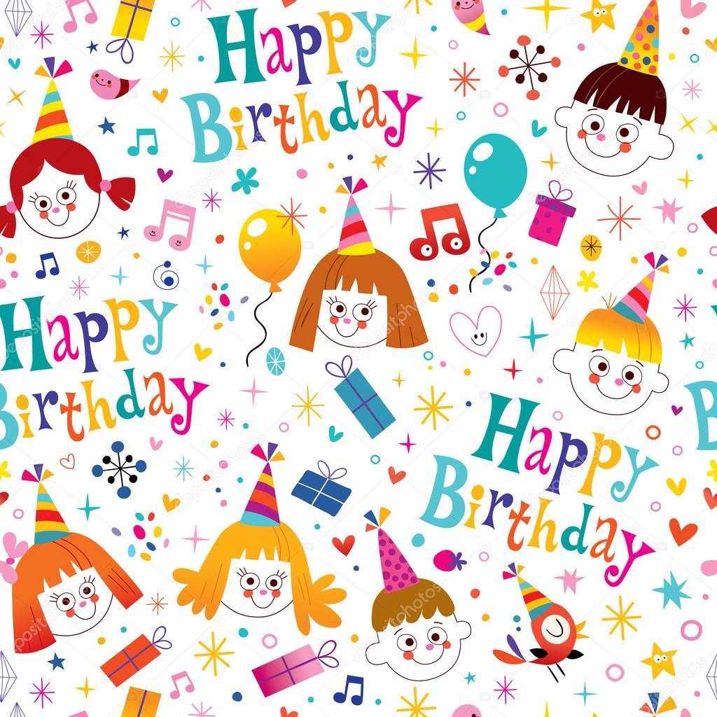 Happy birthday kids party seamless pattern
