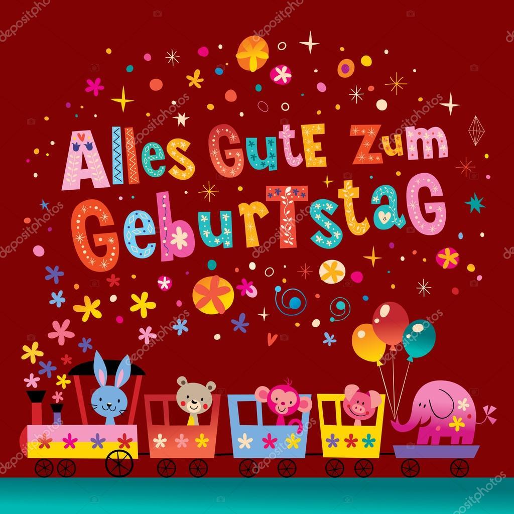 alles gute zum geburtstag deutsch german happy birthday greeting card with cute animals stock vector