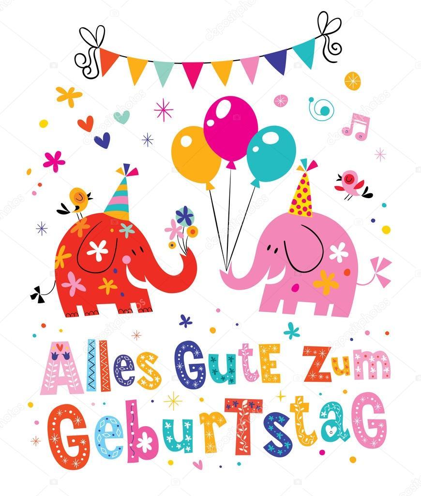 Alles gute zum geburtstag deutsch german happy birthday greeting alles gute zum geburtstag deutsch german happy birthday greeting card with cute elephants stock vector m4hsunfo