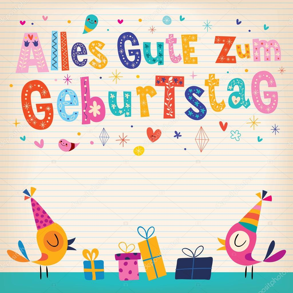 alles gute zum geburtstag happy birthday in german card stock vector