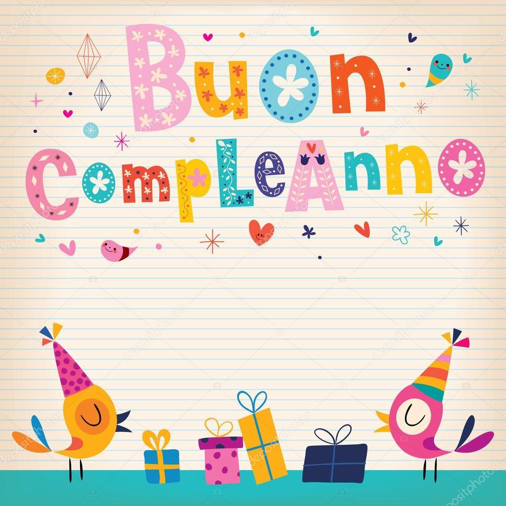 grattis på födelsedagen på italienska Buon compleanno Grattis i italienska kort — Stock Vektor  grattis på födelsedagen på italienska