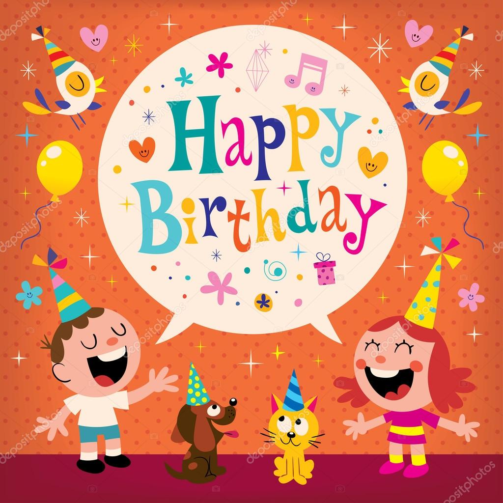 Happy Birthday Kids Greeting Card Stock Vector Aliasching 124179968