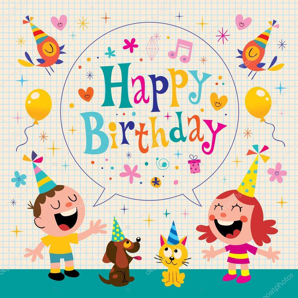 Bambini Cartolina D Auguri Di Buon Compleanno Vettoriali Stock