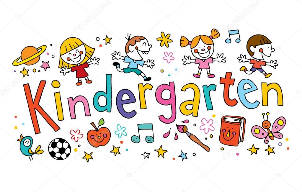 kindergarten unique hand lettering with kids — Stock Vector ...