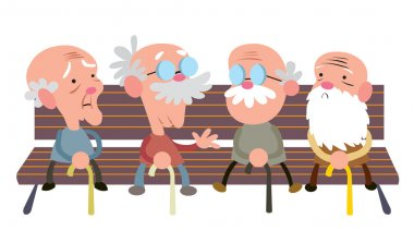 Elderly people on bench