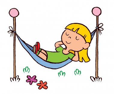 Little girl relaxing in hammock