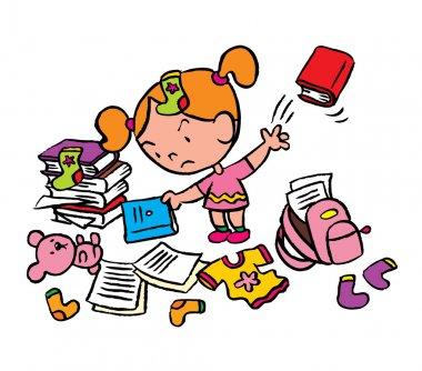 Little schoolgirl in messy room