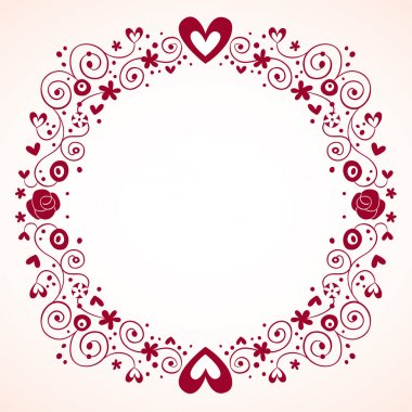 Hearts and flowers frame vintage style