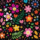Kreslené květiny a srdce vzor