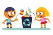Fotografia Ragazzo e ragazza che ricicla
