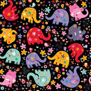 Elephants, birds & flowers pattern