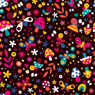Flowers, butterflies, mushrooms & snails pattern