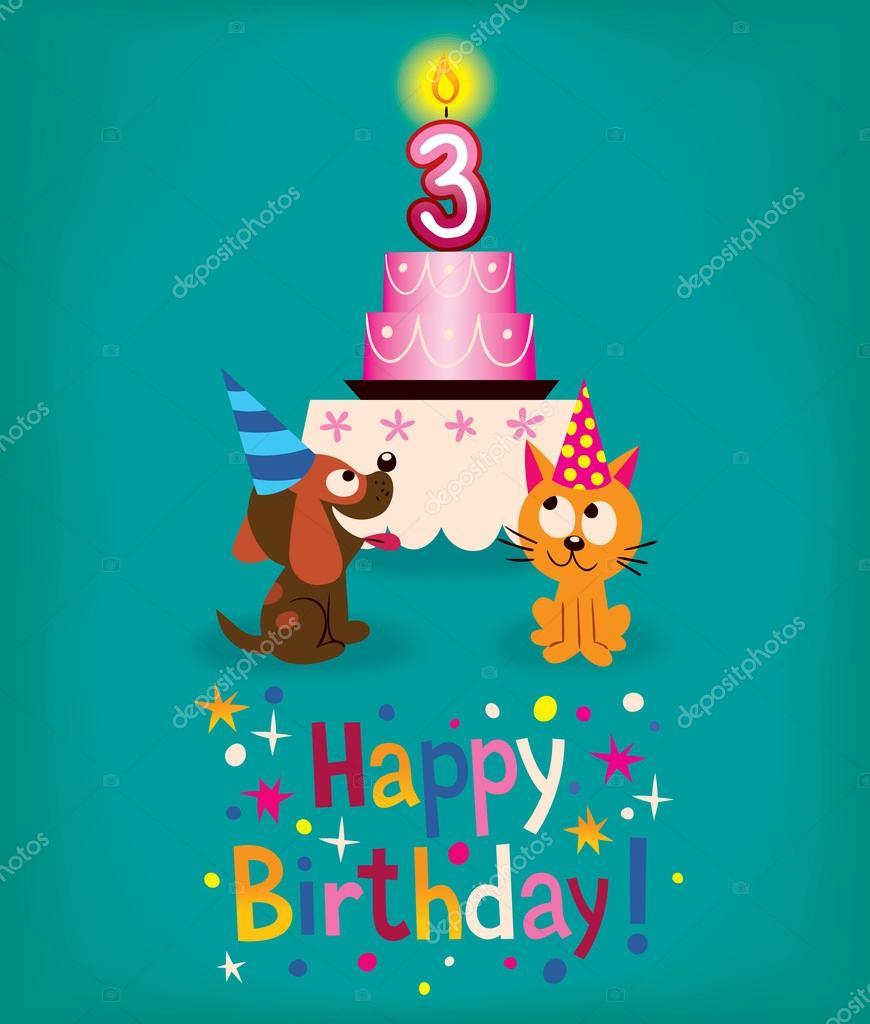 Happy Third Birthday Stockvektor Aliasching 58680607