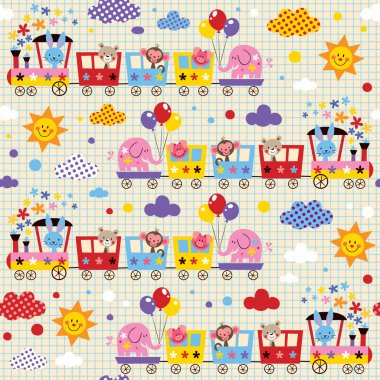 Animal train kids pattern