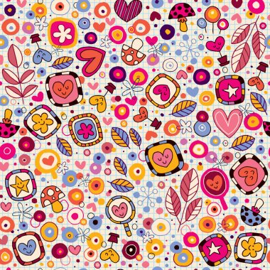 Hearts & flowers pattern