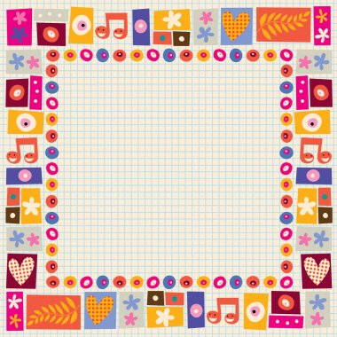 Flowers & hearts decorative border