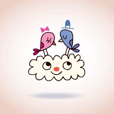 Cute love birds on cloud