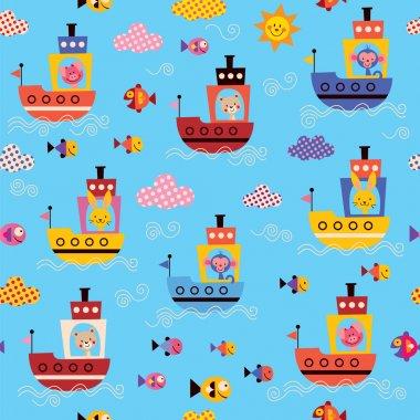 Cute animals in boats kids sea pattern. Vector illustration clip art vector