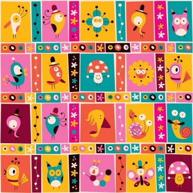 Flowers, birds, mushrooms & snails pattern