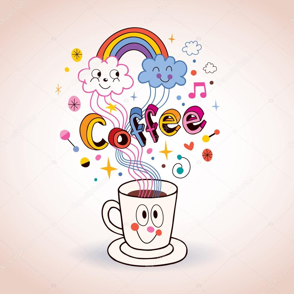 Cute Cartoon Coffee Cup Illustration Stock Vector