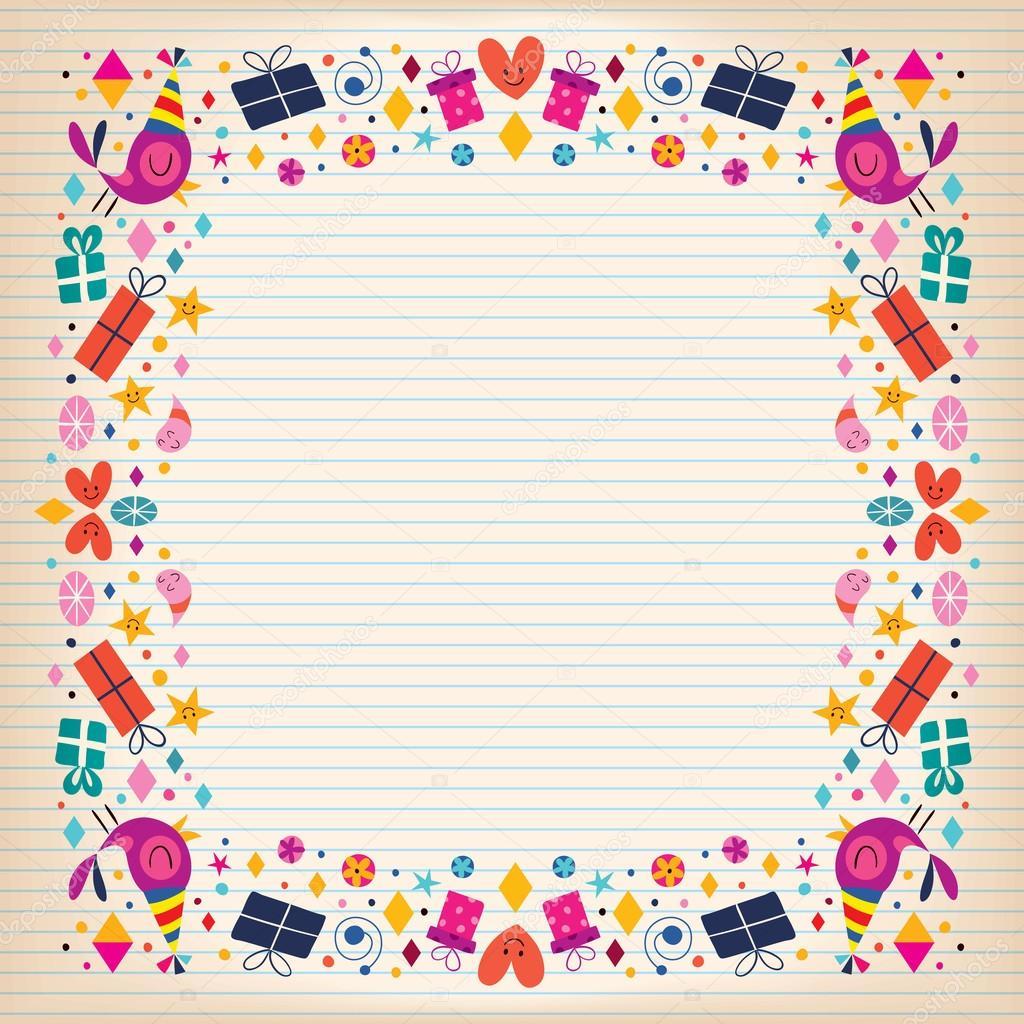 happy birthday border card  u2014 stock vector  u00a9 aliasching