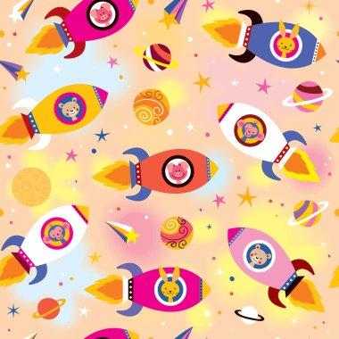 Baby animals in spaceships kids pattern
