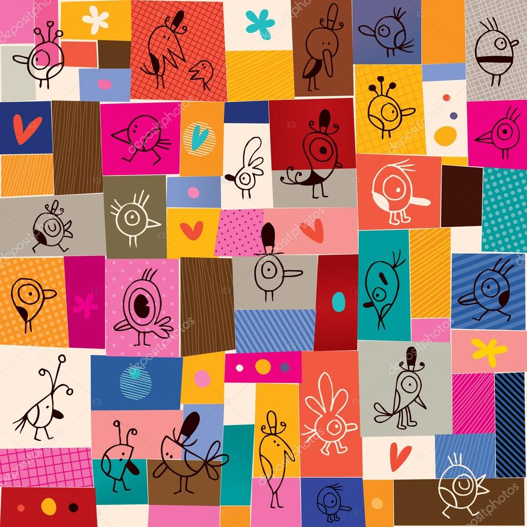 Collage cartoon birds doodle pattern