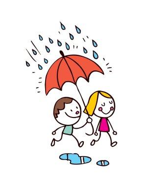 Little boy and girl in the rain. Vector illustration clip art vector