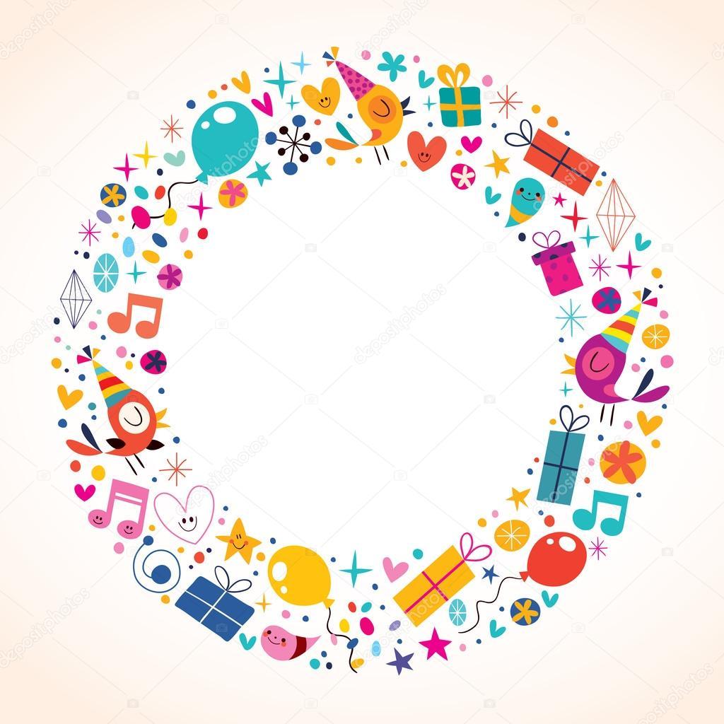 Marco de círculo de feliz cumpleaños — Vector de stock © Aliasching ...